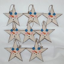 Metal Star Christmas Ornaments 8 Set Snowman Theme 2 Blue Bells 3 Inches image 3