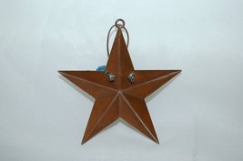 Metal Star Christmas Ornaments 8 Set Snowman Theme 2 Blue Bells 3 Inches image 4