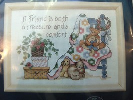 A Friend Is A Treasure Counted Cross Stitch Kit 7x5 Jiffy Bear Baby Blanket - $14.99