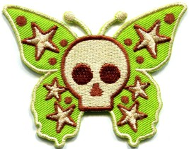 Butterfly skull horror goth emo punk biker applique iron-on patch new S-184 - $2.95