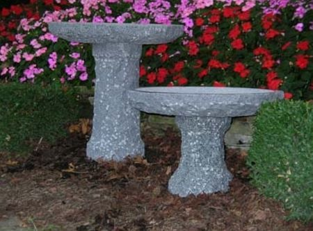 Stone Age Creations BB-LP-2 Charcoal Plume Birdbath Natural Stone Small