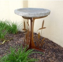 Stone Age Creations BB-CT-CHR Charcoal Cattails Silhouette Stone Birdbath - $479.84