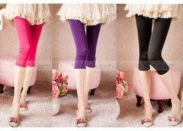 Juniors' Skinny Basic Plain Stretch Cropped Capri Leggings Footless Smoo... - $7.45