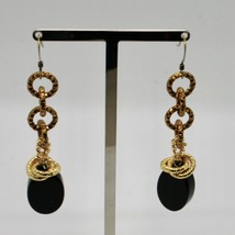 DROP EARRINGS ALUMINUM LAMINATED YELLOW GOLD WITH ONYX BLACK OVAL image 2