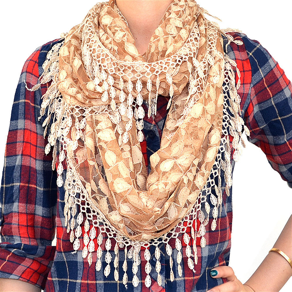 Primary image for Lace Infinity Scarf Loop Melon Seed Long Fringe Floral Leaf Sheer Tear Drop