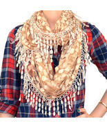 Lace Infinity Scarf Loop Melon Seed Long Fringe Floral Leaf Sheer Tear Drop - $16.24 CAD