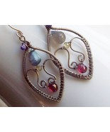 Caldonia Wire Wrapped Earrings with Labradorite, Garnet, Amethyst and Pe... - $92.00