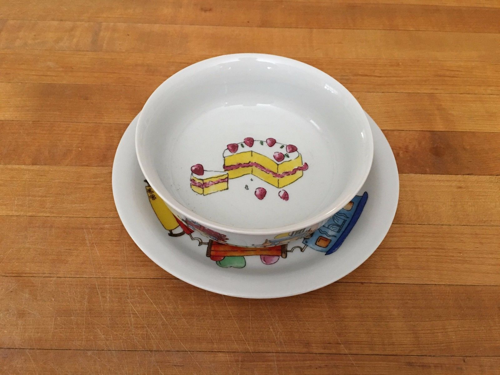 Birthday Bowl: Vardem Childrens Glass Pottery Birthday Bowl Plate Train