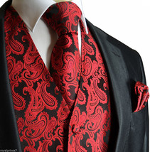 BLACK RED  XS to 6XL Paisley Tuxedo Suit Dress Vest Waistcoat & Neck tie... - $22.75+