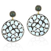 Blue Topaz Dangle Earring, 18k Gold Blue Topaz Gemstone Earrings Jewelry - $640.00