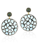 Blue Topaz Dangle Earring, 18k Gold Blue Topaz Gemstone Earrings Jewelry - £483.77 GBP