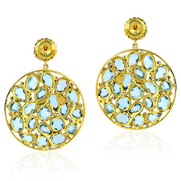Blue Topaz Dangle Earring, 18k Gold Blue Topaz Gemstone Earrings Jewelry