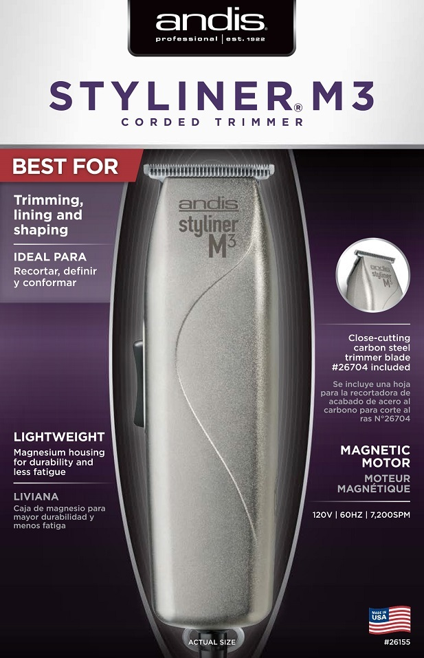 Andis 26155 SL3 Styliner M3 Professional Magnesium T Blade Barber Trimmer, used for sale  USA