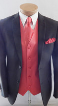 Coral Solid Waistcoat and Neck tie Hanky Set Prom Wedding Party 10X for ... - $19.78+