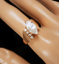 14kt gold Engagement ring Marquise Diamonique  Ring  faceted top  Ring V... - $225.00