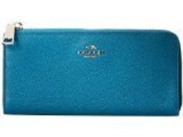 Coach Embossed Textured Leather Slim Zipper Wallet Teal 52333 - $177.21