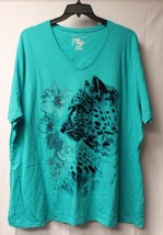 NEW JMS WOMENS PLUS SIZE 5X 30W 32W AQUA LEOPARD TIGER FLORAL V NECK TEE... - $17.41