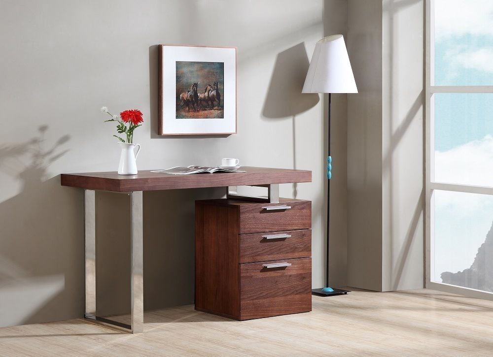 J&M Paris Walnut Veneer Modern Office Desk Chic Contemporary Style