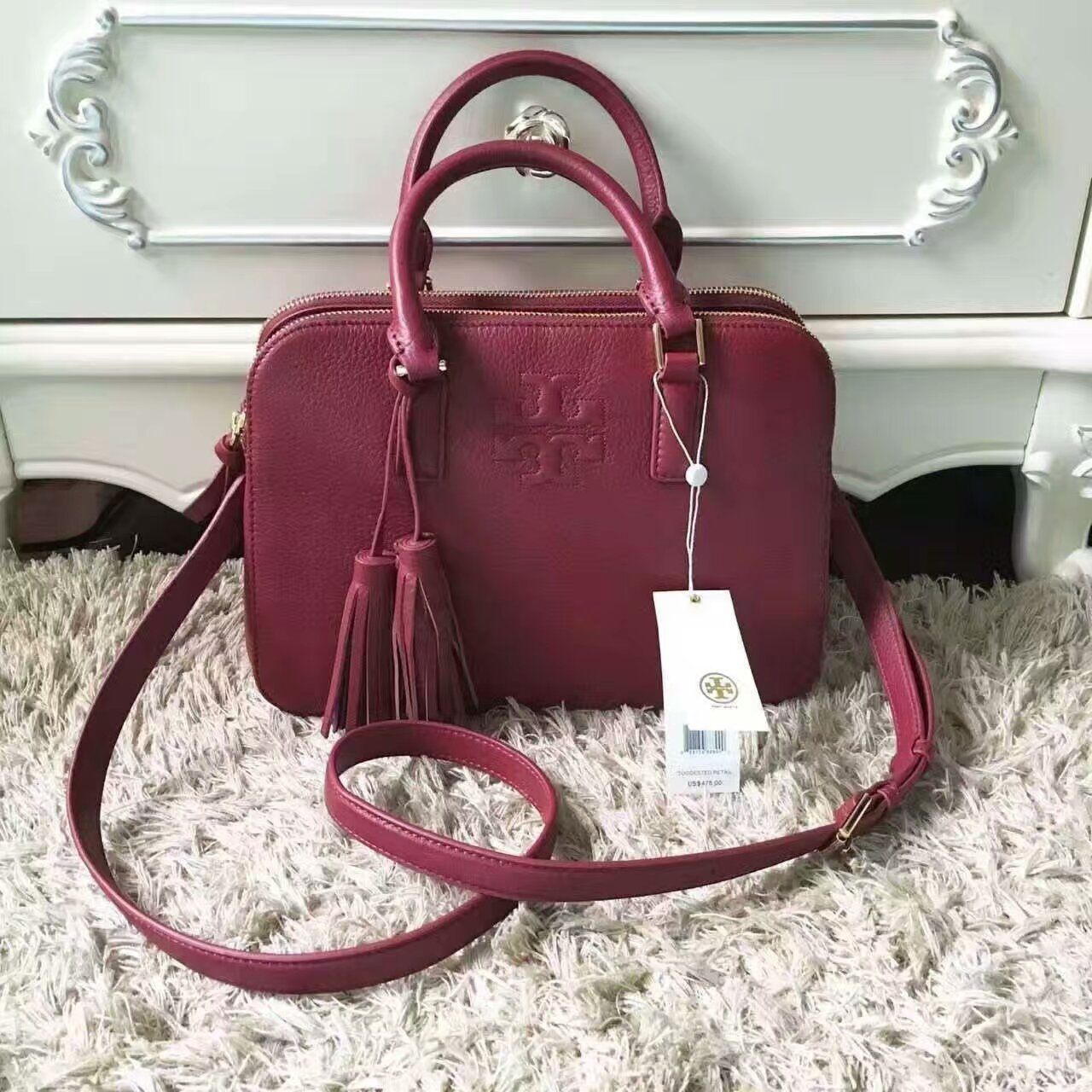 010dfe367a6c Mmexport1493972560665. Mmexport1493972560665. Previous. NWT Tory Burch Thea  Small Rounded Double-zip Satchel
