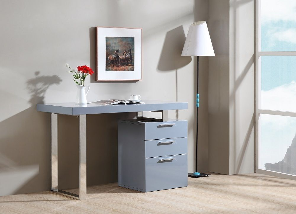 J&M Zurich Walnut Veneer Modern Office Desk Chic Contemporary Style