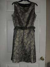 Nine West New Black/Gold Metallic Jacquard Belted Fit & Flare Dress  12 ... - $34.99