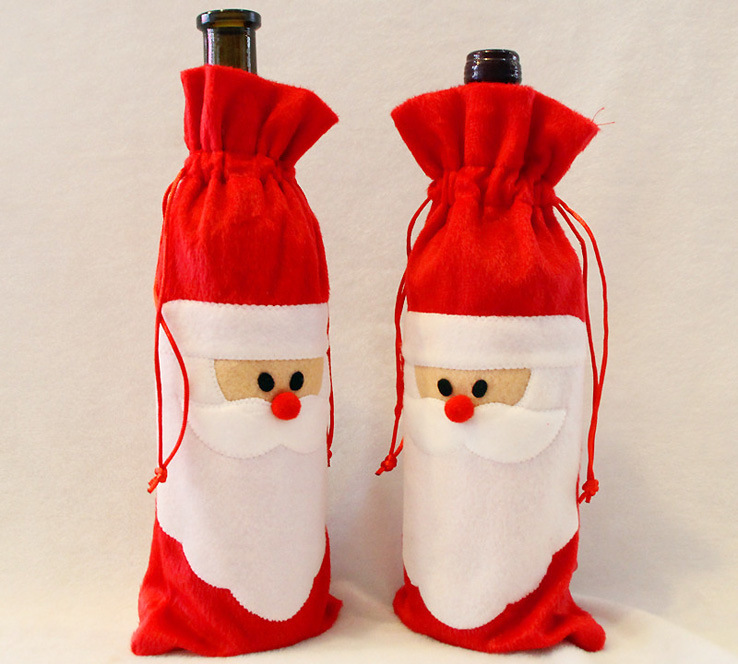 1 Piece Red Wine Bottle Cover Bags Christmas Dinner Table Decoration
