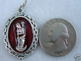 Vintage Catholic Medal ST. CHRISTOPHER w/ silver finish metal w/ red enamel - $14.01