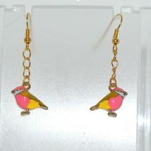 LIttle Bird Charm Earrings, Enamel, Pink, Stainless Steel Hooks, Gold To... - $9.82