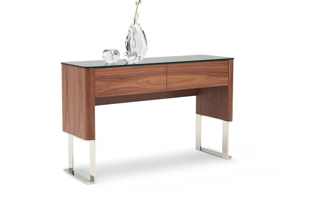 J&M Julian Walnut Wood Veneer Console Table Black Glass Top Modern Style