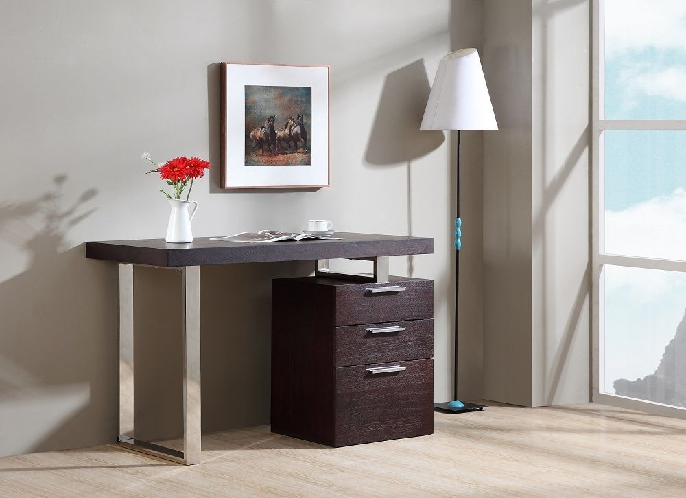 J&M Aragon Walnut Veneer Modern Office Desk Chic Contemporary Style