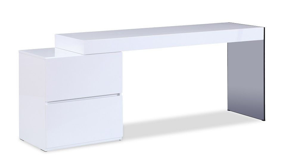 J&M Mia White High Gloss Office Desk Chic Modern Style
