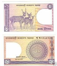 Bangladesh UNC 1 Taka < Wild Cervo Colorato > Gratis Shi - $2.54