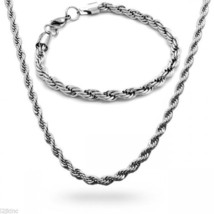 "Stainless Steel 5mm French Rope Chain & Bracelet Mens Necklace 30"" Inch - $17.80"
