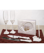 Crystal Calla Lily Themed Wedding Accessory Flutes Serving Set Guest Boo... - $59.38