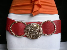 New Women Elastic Gold Round Buckle Waist Hip Red Faux Leather Wide Belt S / M - $11.46