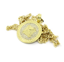 "Mens Medallion Pyramid Pattern Gold Plated Clear 24""Gucci Chain Pendant ... - $13.85"