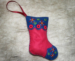 Blue and Pink Handcrafted Felt Christmas Stocking Ornament - $9.98