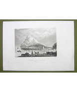 ENGLAND Castle St. Michaels Mount in Cornwall - 1860s Engraving Print - $14.36