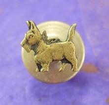 Scottish Terrier Tie Tack Vintage gold Lapel Pin Pinback scottie Dog Figural ani - $75.00