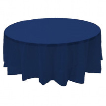 "2 Plastic Round Tablecloths 84"" Diameter Table Cover - Navy Blue - £5.35 GBP"