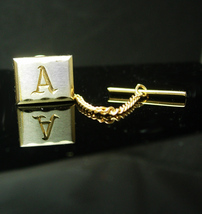 Fancy Initial A Vintage Tie Clip IN BOX silver Gold Letter Wedding groom... - $75.00