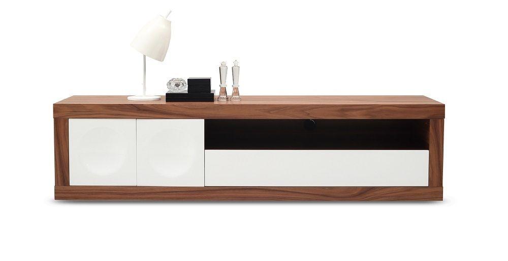 J&M Prato Walnut Wood Veneer Tv Base White High Gloss Modern Style
