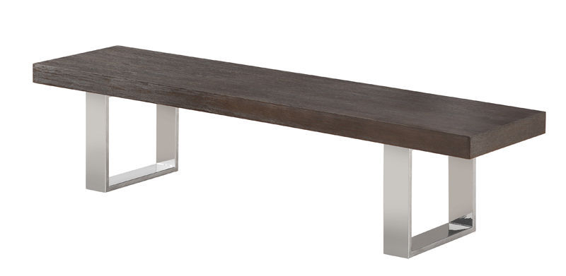 J&M Block Bench in Grey Elm Contemporary Style
