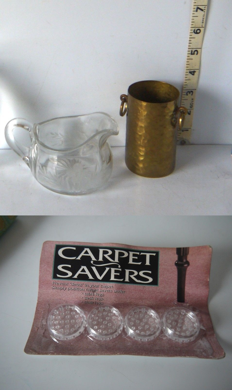 Primary image for Lot of 3 Pretty Etched Glass Pitcher, Brass Pencil Cup, Carpet Savers NIP