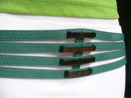 "New Women Belt Fashion Summer Teal Blue Faux Leather 4 Thin Strips 30""-3... - $19.59"