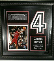 Chris Bosh Signed Toronto Raptors Jersey #4 w Etched Mat of ACC NBA Cham... - £107.00 GBP