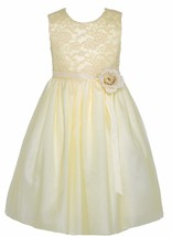 Flower Girl Dress Lace Two Tone Satin Ribbon Ivory CC 1142 - $40.00
