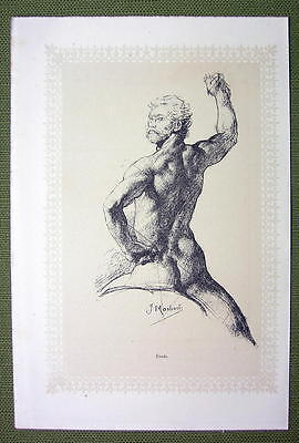NUDE IN ART Man Male & Woman with Snail - 2 Lichtdruck Prints Illustrations