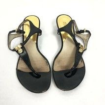 Michael Kors Black Patent Leather Sandals Gold Charm Thong Slip On Shoes... - $12.19