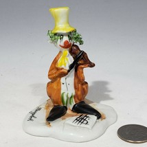 """Capodimonte Meneghetti Signed Clown Figurine Top Hat Violin 3.5"""" spaghetti hair - $32.95"""